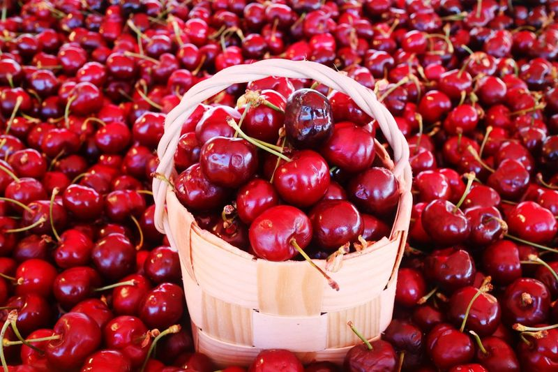 🍒 Basket Red Fruit Healthy Eating Food And Drink Freshness Food Large Group Of Objects Vegetable Full Frame Agriculture No People Backgrounds Outdoors Close-up Day Cherry Helsinki,finland Market