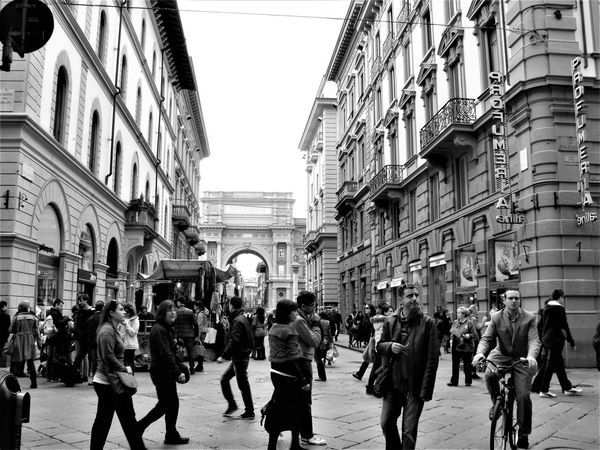 Large Group Of People Building Exterior City Travel Destinations Walking Architecture Real People Day Outdoors Firenze, Italy Street Photography Blackandwhite Photography