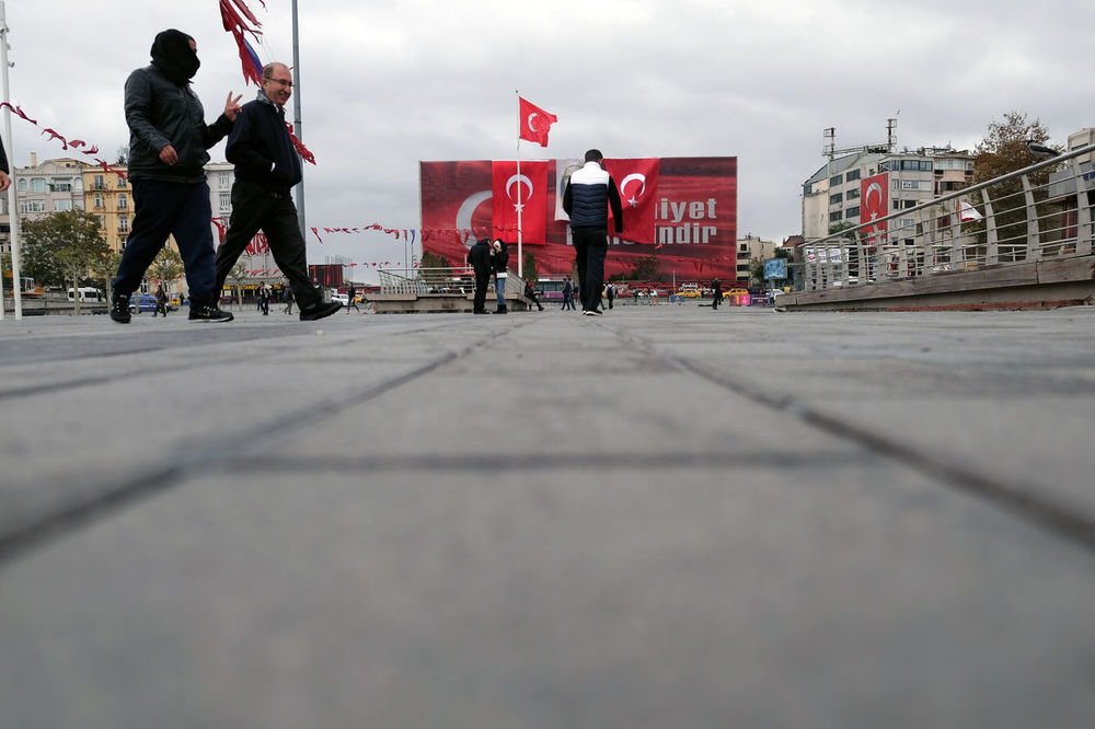 Taksim Square waiting for the National Day Adult City Empty Places Empty Square Focus Object Men People People Walking By Street Photography Taksim Square Istanbul Turkish Flag Turkish National Day