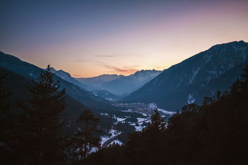 France Road Tranquility Travel Alps Beauty In Nature Cold Temperature Dawn Europe Landscape Mountain Mountain Range Nature Outdoors Snow Sunset Valley View From Above Winter Winter Holidays