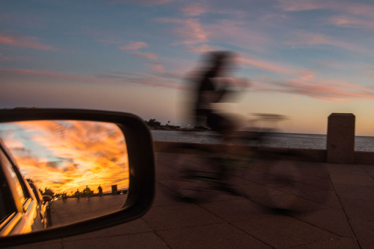 City Sunset Cityscape Blurred Motion Sky Cloud - Sky Close-up Side-view Mirror Vehicle Mirror Calm Waterfront