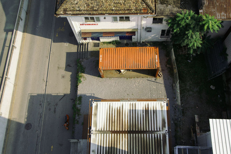 High angle view of building