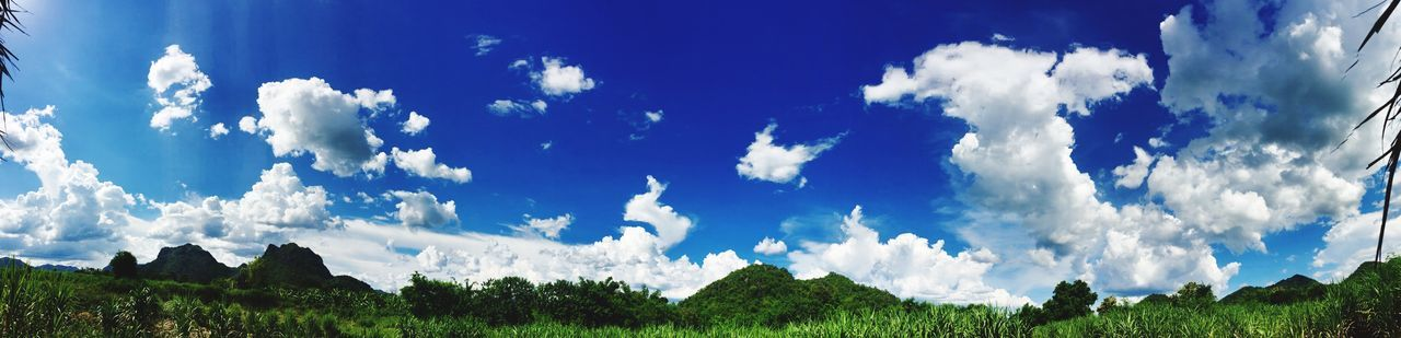 sunny day Sky Cloud - Sky Scenics Panoramic Outdoors Landscape Nature Blue Mountain Thailand Sai Yok IPhoneography Panorama Beauty In Nature No People Suburban