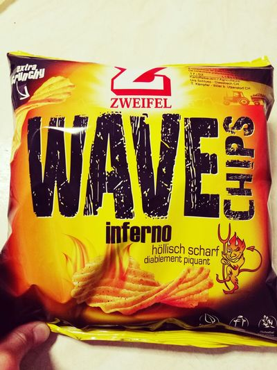 🌶 Chili Peppers Wave Chips 💛💛💛✨✨✨ Text Communication Western Script Food Close-up Yellow