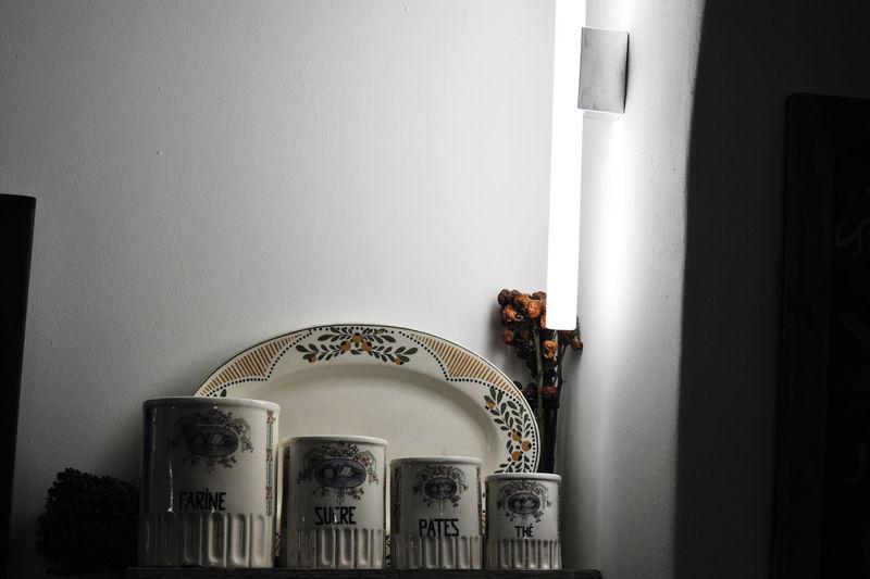 Interior of illuminated building at home