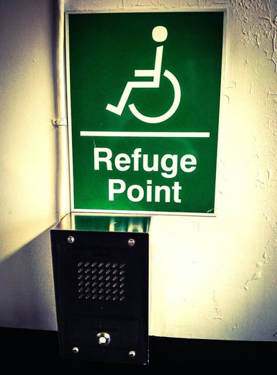 Refuge point. A sign on the top floor of a high building. In the event of a fire, sit there and press the intercom. Safety Limited Mobility Sign Emergency Precautions Top Floor Caring For The Disabled Manchester