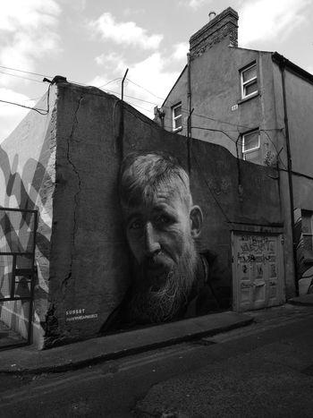 graffiti Dublin Ireland Leinster Graffiti Monochrome Blackandwhite Sky Architecture Building Exterior Built Structure Cloud - Sky ArtWork Street Art Mural