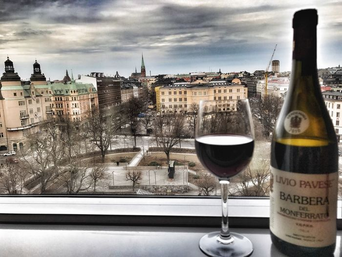 Good wiew from the hotell Window Building Exterior Architecture Built Structure City Sky No People Cityscape Alcohol Freshness Close-up Day Outdoors Stockholm, Sweden ClarionSign Clarion Redwine Barbera  Liviopavese