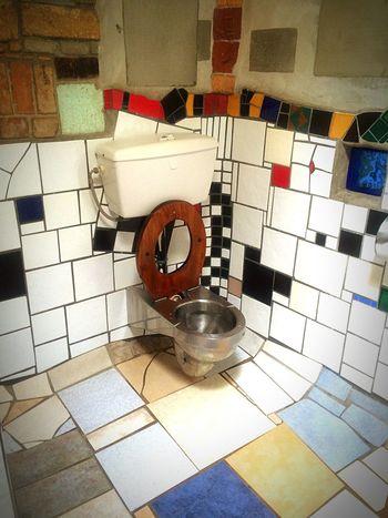 Art Is Everywhere Tile Indoors  Tiled Floor Domestic Room Toilet Bowl Bathroom No People Day Flushing Toilet Hundertwasser Newzealand toilet Toilet Wc Art Is Everywhere