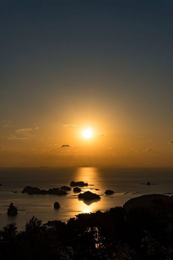 Sunset Sea Beauty In Nature Scenics Sun Nature Tranquil Scene Orange Color Beach Horizon Over Water Water Idyllic Tranquility Silhouette Landscape Travel Destinations Sky No People Sunlight Outdoors