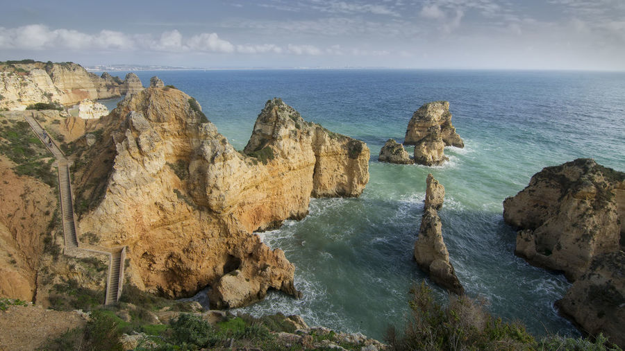 Beauty In Nature La Ponta Da Piedade Nature Rock Formation Scenics Sea Tranquil Scene Water