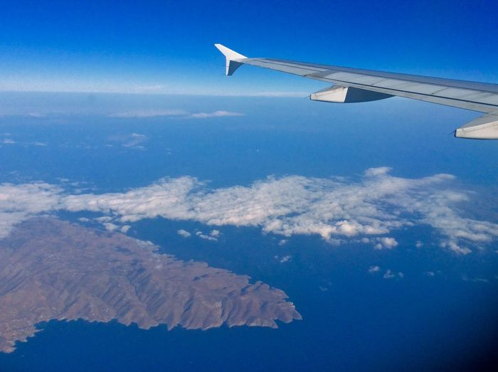 Airplane From An Airplane Window Greece Aegean Blue Sky Blue Sea