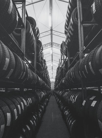 Warehouse full of car tyres.