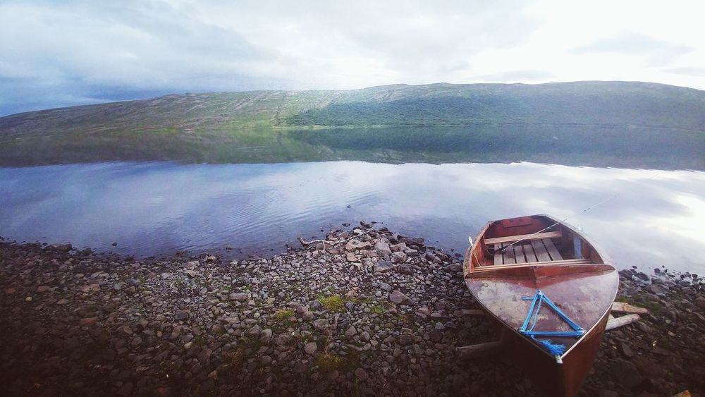 Calm evening at Skorradalur, IcelandTranquility Summertime Lakeshore Boat Boats And Clouds Boats And Water Boat First Eyeem Photo