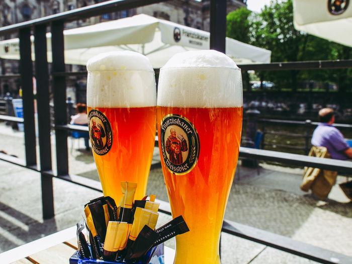 Couple of Weissbier glasses Beer Couple Pint Pub Weissbier Beergarden  City Drinking Drinking Glass Glass Outdoors Pint Of Beer Public House Weizenbier