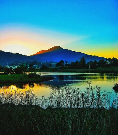 Reflection Tranquil Scene Mountain Lake Water Scenics Tranquility Beauty In Nature Nature Outdoors No People Sky Mountain Range Silhouette Grass Sunset Landscape Blue Tree Day Mt. Tamalpais Marin County CA My Mountain California Dreamin