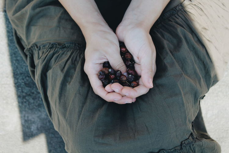 Midsection of woman holding dried fruit