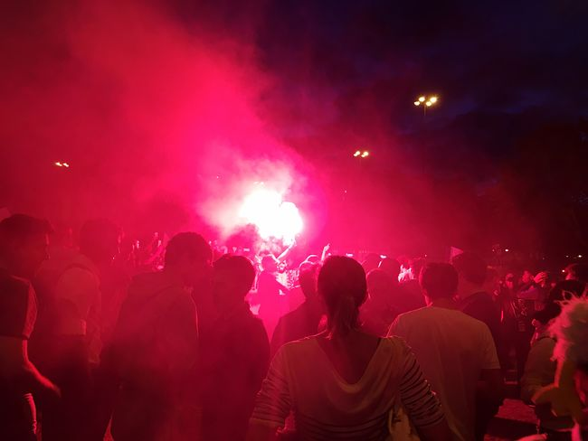 Party for final of world cup of French team at Bastille Smoke Bomb Football Fan Football Worldcup World Cup 2018 Lighting Equipment Group Of People Night Crowd Nightlife Enjoyment Men Large Group Of People Illuminated Adult Event Real People Fun Celebration Emotion Togetherness Red Positive Emotion