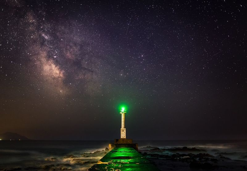 Landscape Japan Night Night Photography Light Nature Stars Sea Lighthouse Light And Shadow
