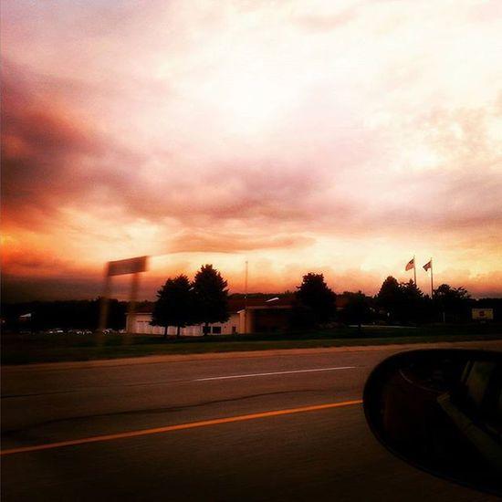 Another beautiful sunset.. Sunset Beautiful Headinhome Puremichigan Driving Cruisin Orangenight LovinLife Thelittlethings Thineownlife