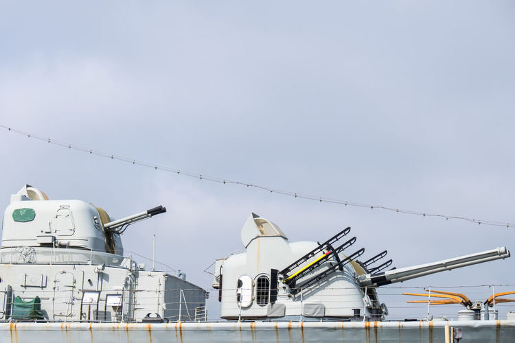 Air defense guns on a navy warship