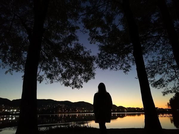 Campfire of Dreams Silhouette Tree Sunset Sky One Person Night Nature Landscape Tranquility Tranquil Scene Beauty In Nature Lake Travel Destinations Beauty In Nature Peaceful View Beautiful Places Around The World Albania