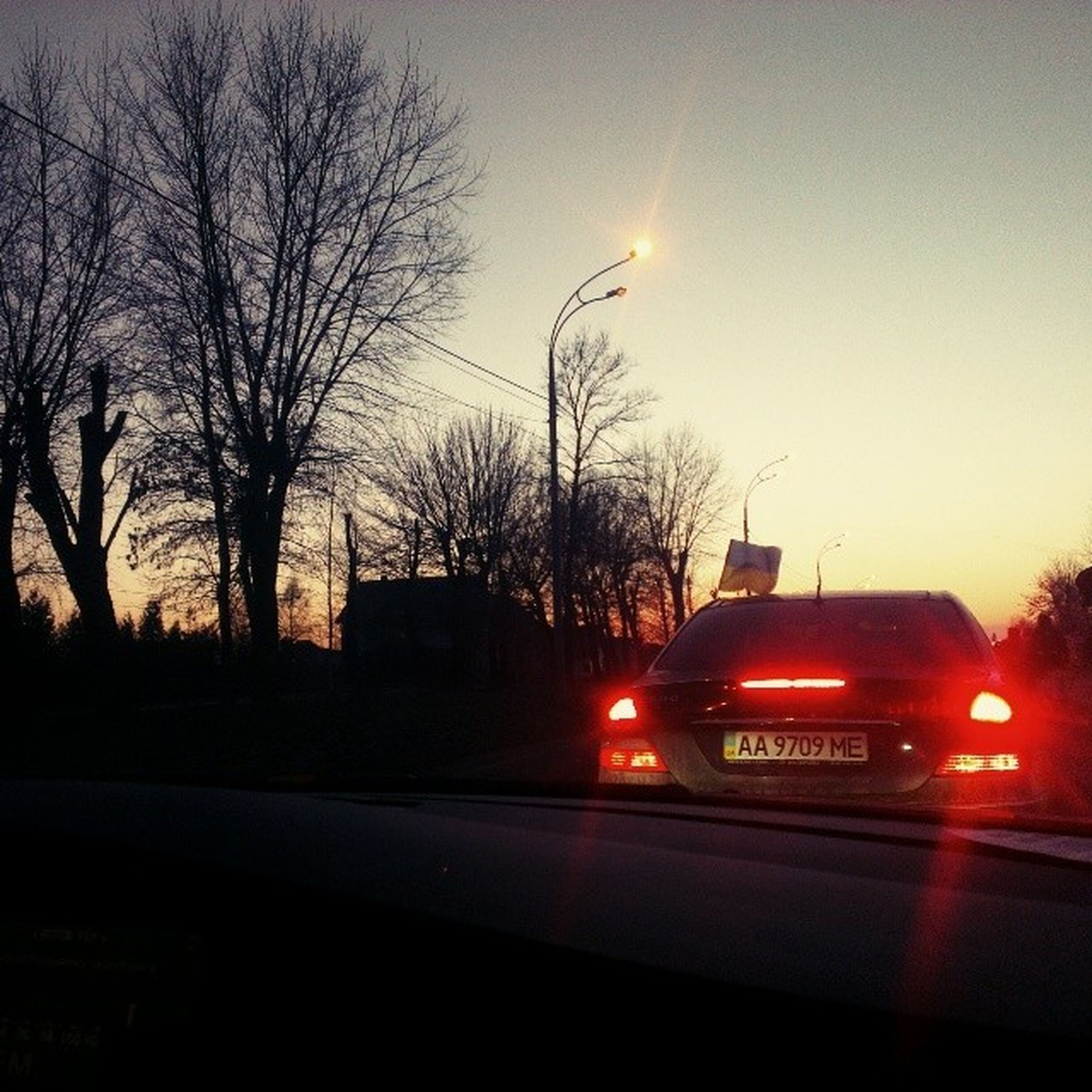 transportation, tree, car, road, bare tree, silhouette, land vehicle, sunset, illuminated, street, mode of transport, sky, night, road marking, no people, the way forward, clear sky, outdoors, lens flare, windshield