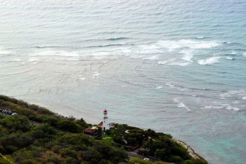 Lighthouse Headlight Hawaii Birdwatching Fromthesky Diamondhead Waves Atlantic Ocean