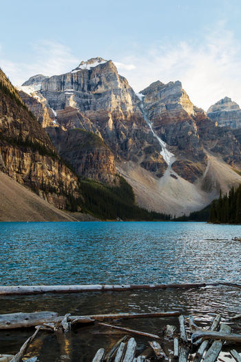 Moraine Lake Moraine Lake  Mountain Scenics - Nature Water Beauty In Nature Mountain Range Tranquil Scene Lake Sky Tranquility Nature Outdoors Turquoise Colored Mountain Peak Snowcapped Mountain