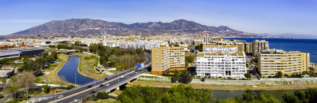 Fuengirola city, province of Málaga, Andalusia region, Spain. Panoramic view. Andalusia Automobile Coastline Landscape Europe Trip European Architecture FUENGIROLA  Hotel Lobby Hotels Malaga Mediterranean Sea Mediterranean Food Panorama River View SPAIN Vacation Time Blue Sky And Clouds Costa Del Sol Highway Hills And Valleys Travel Destinations Turism Turistic Places Vacation Destination
