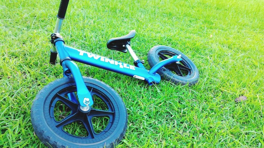 bike twinkle Kids Bike Thailand Blue Bicycle Rack Stationary Bicycle High Angle View Grass Green Color Wheel