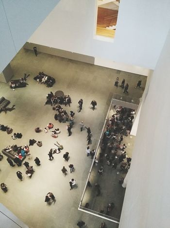 Crowd at the Museum Of Modern Art, New York. · New York City New York ❤ NYC USA Manhattan Museum Moma Performance Exhibition People People Watching From Above  Diagonals White And Pastel