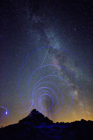 Wormhole Milkyway Starry Sky Light And Shadow Light Painting Abstract Perseid Meteor Shower Astrophotography EyeEm Best Shots Getting Creative Landscapes With WhiteWall