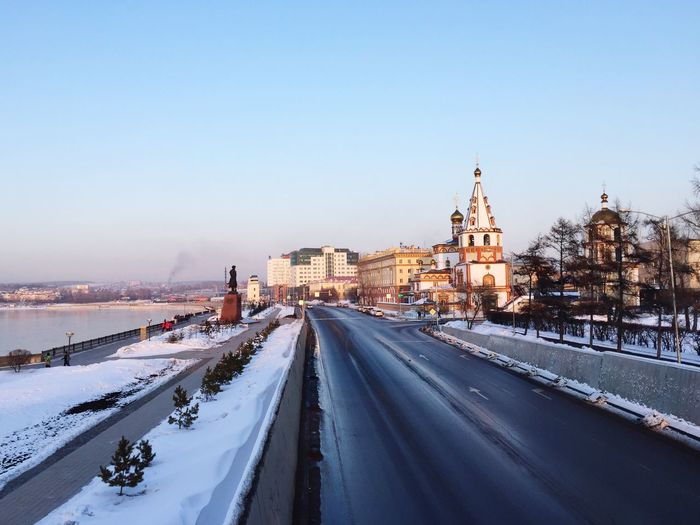 #irkutsk #russia EyeEm Selects Snow Winter Cold Temperature Transportation Architecture Built Structure Clear Sky Outdoors Sky Nature No People Travel Destinations Cityscape City Day Building Exterior Road