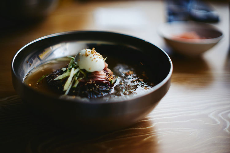 Close-Up Of Naengmyeon In Bowl