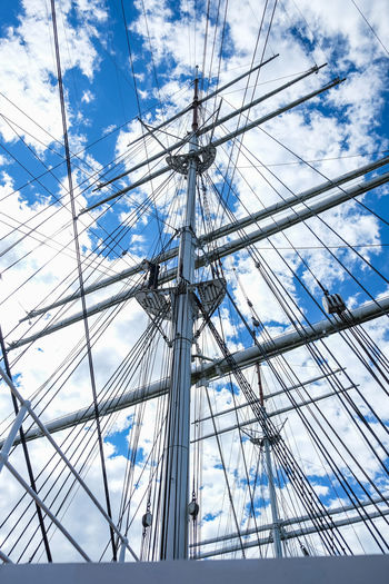 Close up view from old sailboat ship high mast and ropes against clouds and sky Sailboat Mast Transportation Mode Of Transportation Rope Blue Travel Sailing Ship Tall Ship Directly Below Outdoors No People Ship Cloud - Sky Low Angle View Sky Sailing Pole Day Nature Nautical Vessel Boat Tower Tall - High High Angle View Travel Summer Antique Vintage Old
