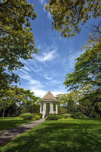 Singapore Botanic Garden Architecture Band Stand Bandstand Built Structure Day Grass Landscape Nature No People Outdoors Pavilion Roof Sky Travel Destinations Tree The Secret Spaces