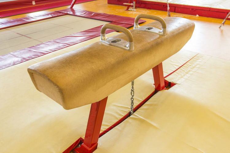 High angle view of pommel horse