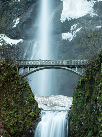 Columbia River Multnomah Falls  Portland Portland, OR The Gorge Winter Bridge Snow Waterfall Lost In The Landscape Connected By Travel