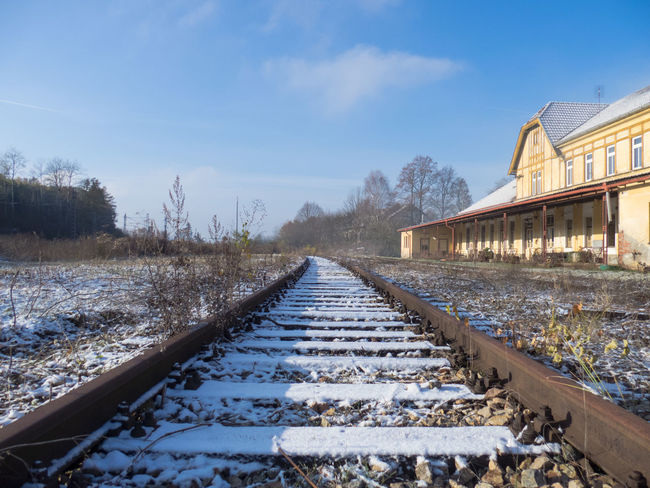 Frost Frosty Mornings Snow Snow Covered The Way Forward Train Train Station Train Tracks Winter Winter Wonderland