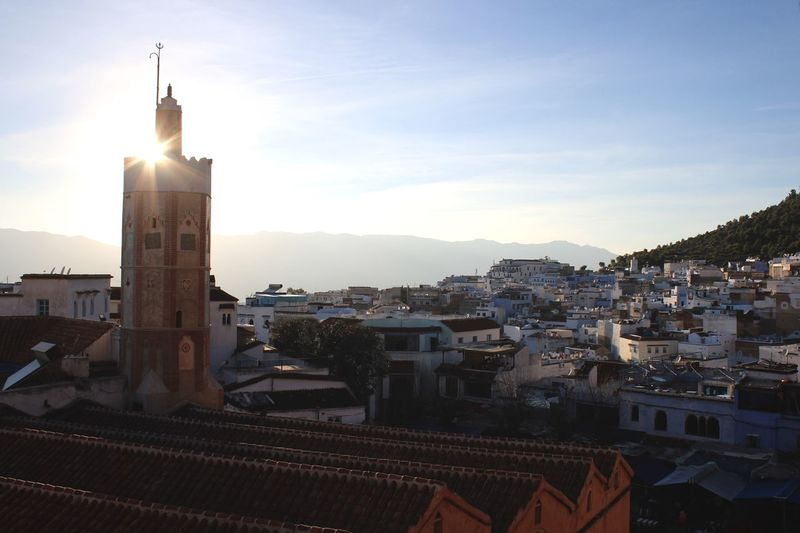 Architecture Blue Blue City Built Structure Chaouen Chefchaouen Chefchaouen Medina Chefchaouen Rif Mountains City Cityscape Minaret Moroccan Architecture Morocco Roof Sky Sun Sunset Travel Destinations Travel Photography Traveling
