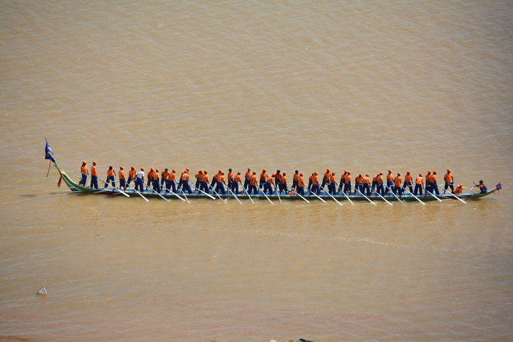 High angle view of men rowing boat on lake