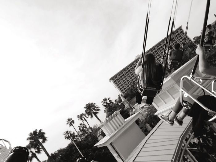 Monochrome Blackandwhite Trapeze Disney California Adventure Anaheim Disneyland California Disney Trip Traveling People Sky Flying