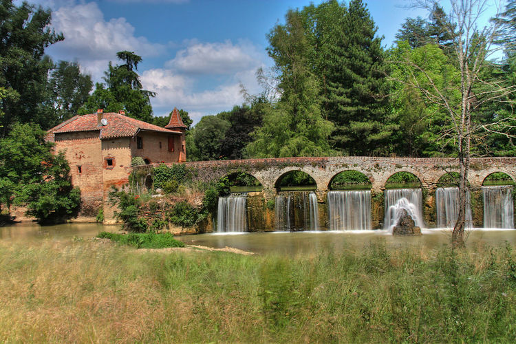 Architecture Cascade Day France Grass Lot Et Garonne Moulin Nature No People Outdoors Sky Tree Water