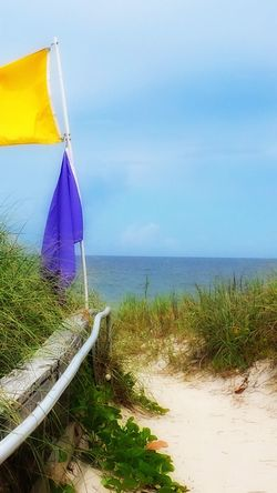 At The Beach Beach Entrance Beach Warning Flags Looking Out To Sea Sebastian, Fl