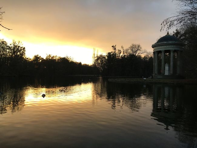 Nymphenburg Water Sunset Reflection Sky Architecture Waterfront Tree Cloud - Sky Nature Building Exterior Lake Outdoors Beauty In Nature No People Animal Themes Day
