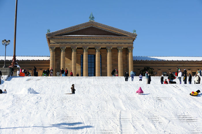 People play with snow in front of the Philadelphia museum of Art in Philadelphia, PA, USA Feb. 11 2008. Architecture Center City Philadelphia Pa. Cold Weather Pennsylvania Philadelphia Snow Boarding Snow ❄ Steps USA Winter Architecture Clear Sky Cold Temperature Day Landmark Large Group Of People Outfoor Pattern Philadelphia Museum Of Art Playing Real People Travel Destinations