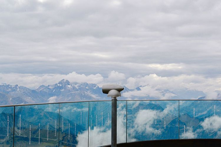 Nebelhorn Panoramic View Areal View Tranquil Scene Travel Destinations Mountain Range Railing Viewing Platform Holiday Vacations Trip Mountain Top Leisure Time Lifestyles Mountain Telescope Cloud - Sky Sky Day Nature No People Blue Barrier Outdoors Boundary