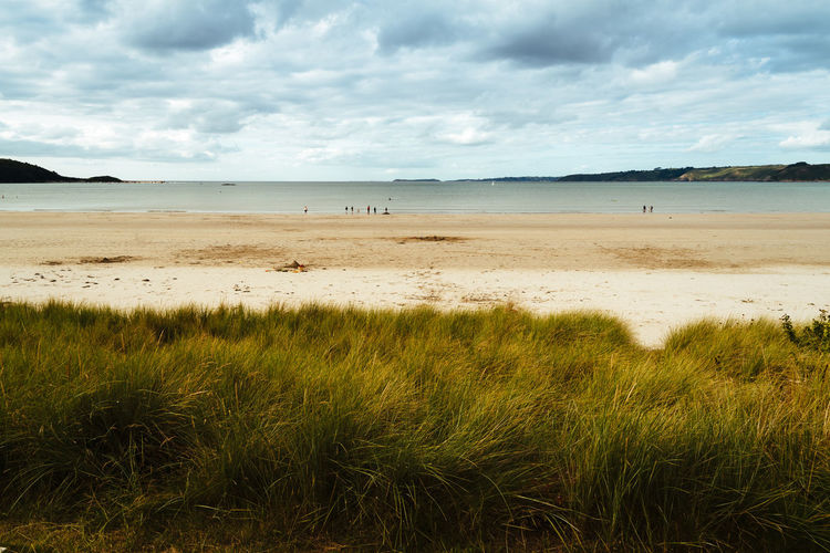 Scenic view of beach in Brittany a cloudy day of summer Nature Day Outdoors Brittany France Water Beach Land Sky Sea Grass Cloud - Sky Plant Beauty In Nature Scenics - Nature Tranquility Tranquil Scene Horizon Horizon Over Water Marram Grass Tranquility Summer No People
