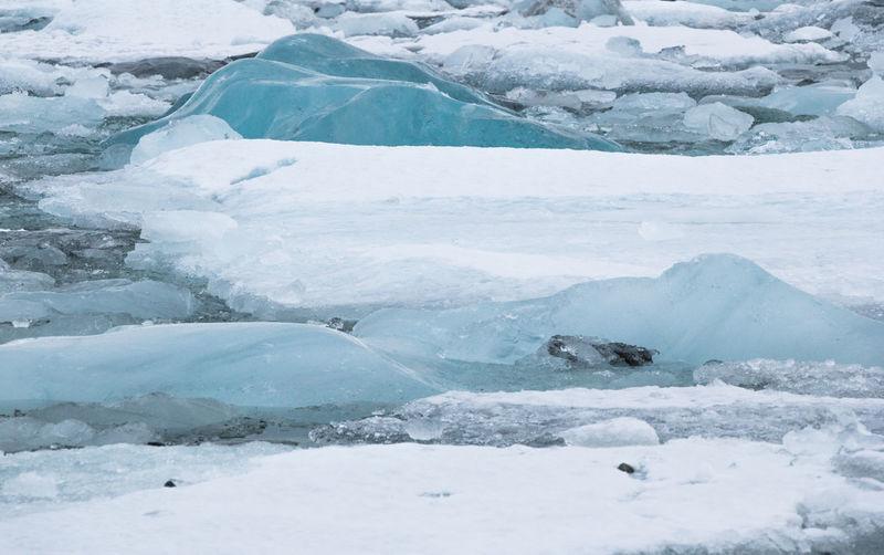 Icebergs Melting In Lake